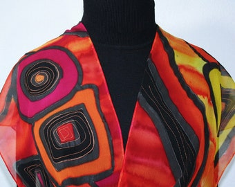 Silk Scarf Hand Painted Red Orange Black Silk Shawl BERRY DELIGHT, Silk Scarves Colorado. Select Your SIZE! Christmas Gift, Anniversary Gift