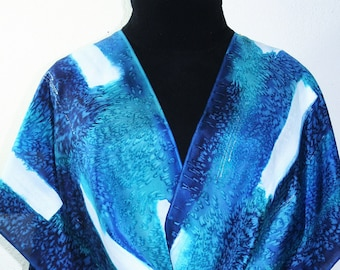 Silk Scarf Hand Painted. Blue, Turquoise, Teal, Silk Shawl CARIBBEAN CHIC. Large 14x72. Silk Scarves Colorado. Birthday Gift. Christmas Gift