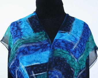 Blue Teal Silk Scarf Handpainted Handmade Silk Shawl OCEAN OF LOVE by Silk Scarves Colorado. Select Your Size! Birthday Gift, Christmas Gift