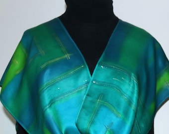 Teal Green Silk Scarf Hand Painted Silk Shawl SPRING MOMENTS, by Silk Scarves Colorado. Size 11x60. Birthday, Anniversary, Christmas Gift.