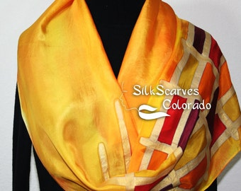 Silk Scarf Yellow, Orange, Red, Burgundy Hand Painted GOLDEN SUN, in Several SIZES. Handmade Scarf. Bridesmaid, Birthday, Graduation Gift.