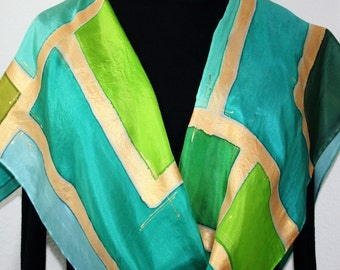 Green Silk Scarf Hand Painted Scarf Teal Turquoise Shawl GREEN CHIC, Offered in Several SIZES Birthday Gift, Bridesmaid Gift. Christmas Gift