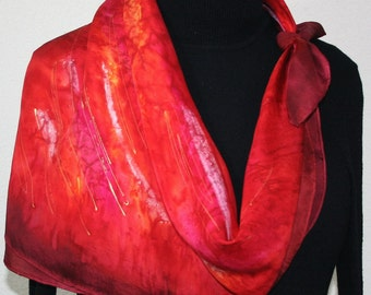 Red Silk Scarf. Merlot Red Hand Painted Scarf. Handmade Square Scarf BURNING PASSION.Birthday Gift. Bridesmaid Gift. Gift-Wrapped