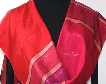 Red Silk Scarf. Merlot Red Hand Painted Scarf. Handmade Silk Shawl SPANISH WINE. Bridesmaid Gift. Gift-Wrapped. Offered in Several SIZES