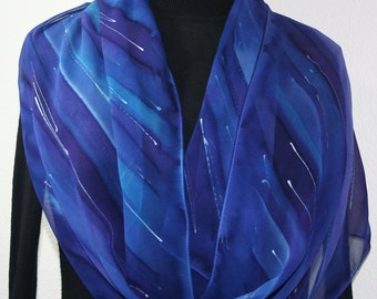 Purple, Blue Hand Painted Silk Scarf. Handmade Shawl PURPLE SKIES, by Silk Scarves Colorado. Large 14x72. Birthday, Anniversary Gift