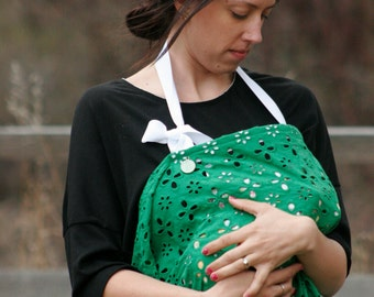 Breathable Breast Feeding Cover in Green with White Ribbon. Private Cotton Nursing Apron for Newborns. Baby Shower Gift Ready to Ship!