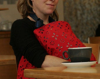 Breast Feeding Cover in RED + NAVY. Private and Breathable Nursing Apron for Newborns. Baby Shower Gift! Ready to Ship.