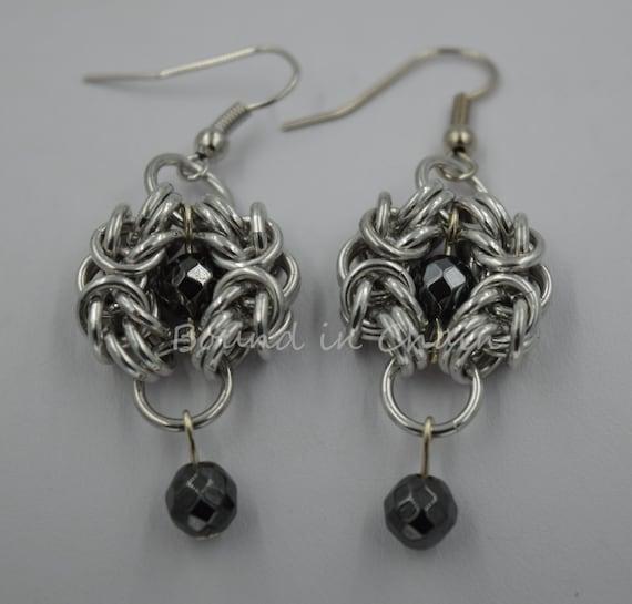 NEW Stunning Metallic Chainmail Earrings UK Seller