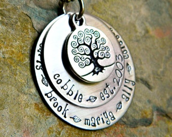 Handstamped Tree of Life Family Necklace - Personalized Two Layered Pendants - The Julie Design