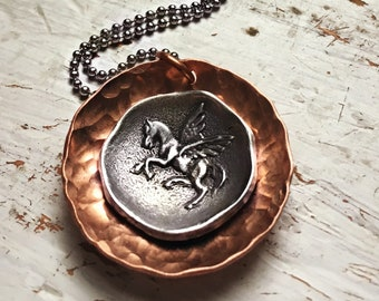 Pegasus Mixed Metal Pendant Necklace - Copper Pewter Stainless Steel - Whimsical Fantasy Neck Treasures