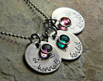 Handstamped Personalized Custom Family Name Necklace - Stainless Steel Discs with Birthstones - Sterling Silver Alternative - Mommy Necklace