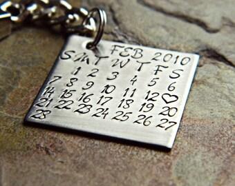 Handstamped Custom Stamped Calendar Calender Necklace or Keychain - Hypoallergenic Stainless Steel - Sterling Silver Alternative