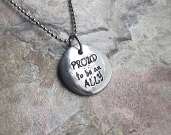 Ally Support LGBTQ+ Handstamped Pewter Pebble Necklace - Inspirational Necklace - Pride Month
