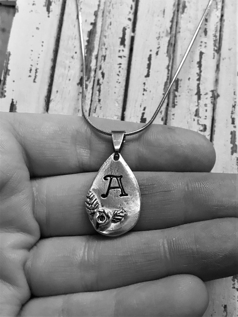 Personalized Handstamped Monogram Necklace Initial Teardrop with Rose Accent in Lead Free Pewter