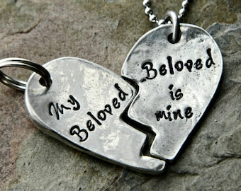 Personalized Broken Heart Pendant Necklace and Keychain Set - His and Hers Personalized Accessories - I am My Beloved's, My Beloved is Mine