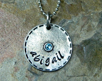 Handstamped Personalized Custom Birthstone Name Necklace - Stitch Edge Pewter Pendant with Birthstone - Sterling Alternative - ONE DISC