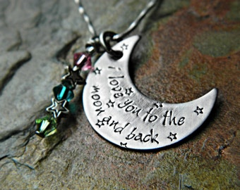 Handstamped Crescent Moon with up to 3 Birthstone Crystals - 'I love you to the moon and back' - Stainless Steel - Sterling Alternative