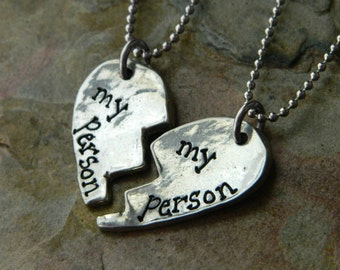 My Person Broken Heart Pendant Necklace Set - Necklace Set for Besties - Best Friends Forever Jewelry - Two Necklaces for BFFs