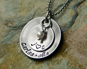 Handstamped Personalized Custom Grandmother or Mother Necklace - Family Necklace - Sterling Alternative - Stainless Steel - 'Regular' Size