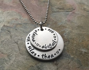 Personalize Mother Grandmother Necklace - Pewter and Steel - Two Layered Pendants - Sterling Silver Alternative