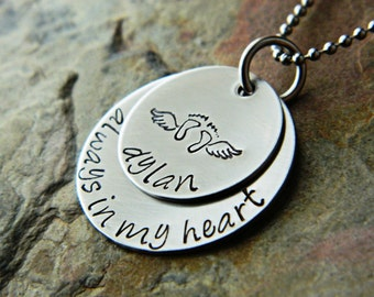 Handstamped Custom Bereavement Remembrance Necklace - Always in my Heart Memorial - Two Steel Pendants - Sterling Silver Alternative