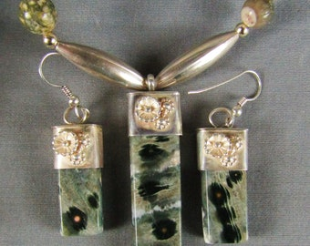 Ocean Jasper Sterling Silver Necklace earring set natural stone