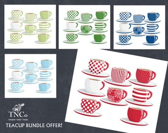 commercial use blue teacups Digital Instant Download for card making Snowflake clipart festive clipart TNCo Teacups clipart