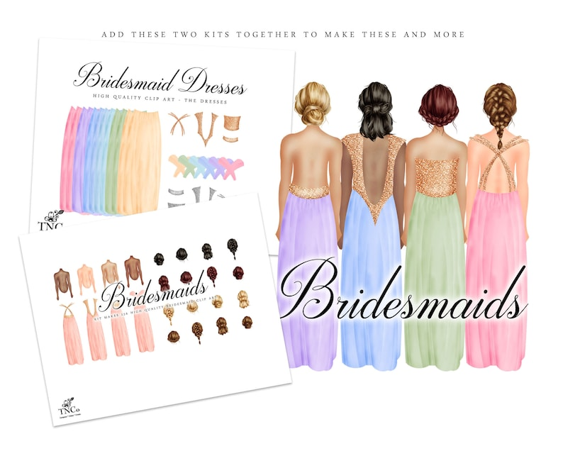 16 Bridesmaid Proposal Printable Wedding Clipart Prom Commercial Use Clip art TNCo Bridesmaid Clipart Bridesmaids dresses pink