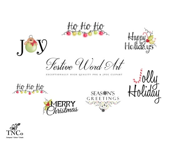 christmas digital word art festive instant download happy