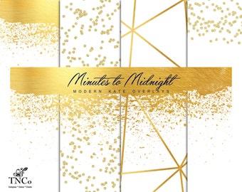 Digital overlays - Digital gold foil paper - Glitter digital paper - commercial use paper - Gold overlay - Photo overlays - MK - faux foil