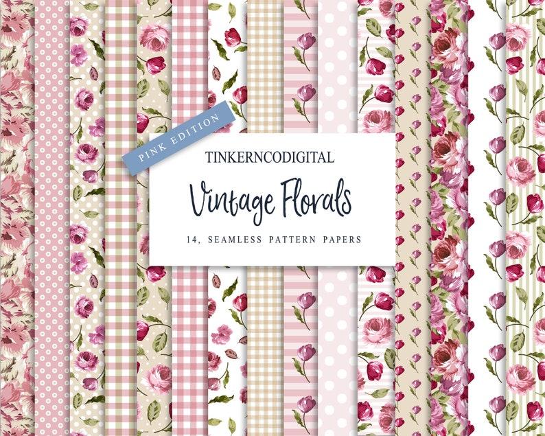 c0fb1ee280da1c Nahtlose Muster Papier Floral print digital Download Rosa   Etsy