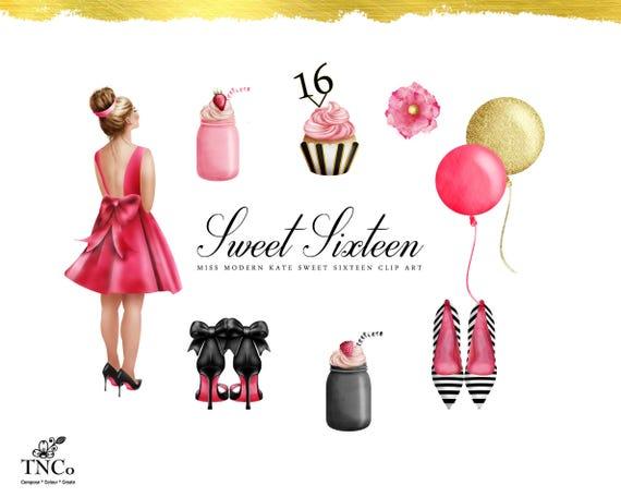 sweet 16 clipart sweet 16 printables sweet 16 invitation etsy rh etsy com sweet 16 clip art for girls sweet 16 clip art free