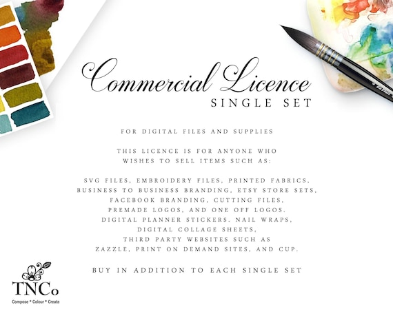 Commercial Licensing Agreement Single Clipart Sets For Etsy