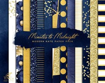 Digital scrapbook paper - Gold Foil Digital Paper - Digital download art - Glitter digital paper - Navy and gold - Commercial use - MK
