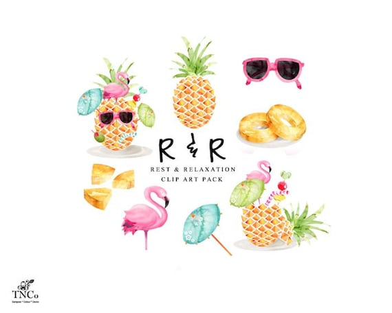 Tropical Clip Art,Flamingo,Toucan,Pineapple,Butterfly,Coconut,Watermelon,Flowers,Leaves,Gold Free Commercial Use PNG Buy 3 for 9 USD
