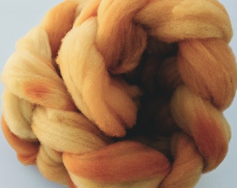 """Babydoll Southdown Wool Combed Top for Spinning  Hand Dyed 2 Oz (More Avail) Spinning Fiber Felting  """"  Marigold  """""""