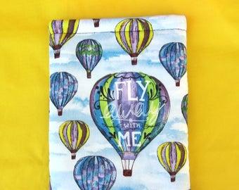 MINI BOOK SLEEVE- Hot Air Balloon - Book Pouch, Book Protector