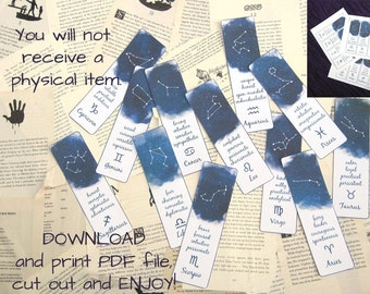 Zodiac Bookmarks, Set of 12 Instant Download Bookmarks