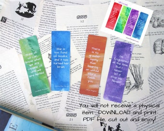 Watercolor Quote  Printable Bookmarks, Set of 4 Instant Download Bookmarks