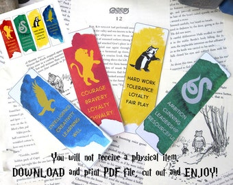 Wizarding School Houses  Printable Bookmarks, Set of 4 Instant Download Bookmarks