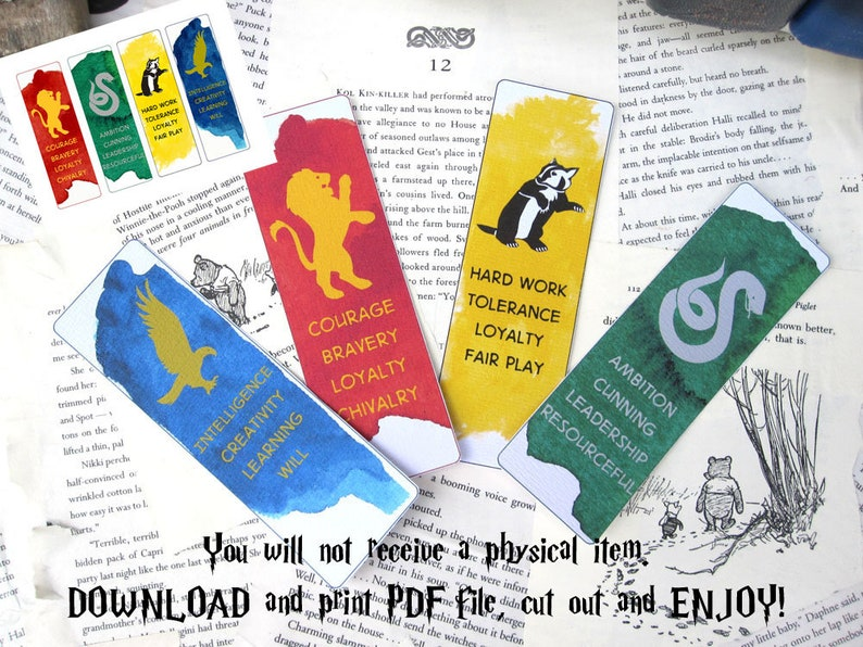 Wizarding School Houses  Printable Bookmarks Set of 4 Instant image 0