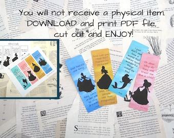 Princess Printable Bookmarks, Set of 4 Instant Download Bookmarks