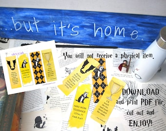 Wizarding School House Printable Bookmarks, Set of 4 Instant Download Bookmarks