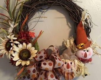 Grapevine scarecrow wreath with polka dot bow