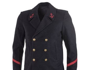 3b45c9833c7 1970 s MILITARY VINTAGE STYLE French Navy wool Peacoat (excellent like new  condition)