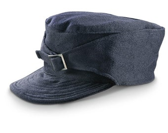 a648498479c 1960 s MILITARY STYLE Vintage Italian M43 Navy Blue Wool Winter Hat