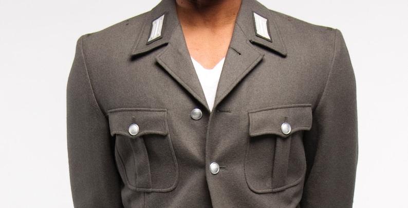 NEW 1980/'s VINTAGE German Army Gray 4 pocket Wool Jacket medium-XL