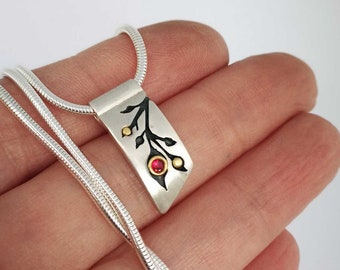 Ruby Budding Branches - Silver & Gold Diamond Pendant  - Ready to Send!