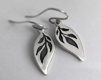 Jasmine Leaf Earrings - Elegant Oxidised Botanical Silver Leaves