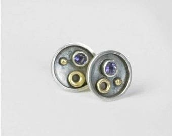 Water Sapphire Circles Studs - Ready To Send!